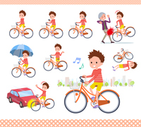 flat type Red clothing short hair boy_city cycle