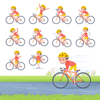 flat type Red clothing short hair boy_road bike