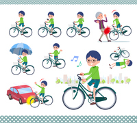 flat type Green clothing glasses boy_city cycle