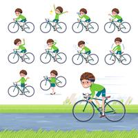 flat type Green clothing glasses boy_road bike