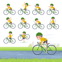 flat type Yellow clothes Bob hair boy_road bike