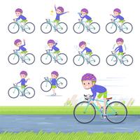 flat type blond hair boy White_road bike
