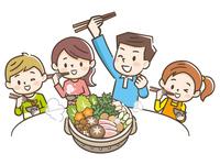 寄せ鍋を食べる家族