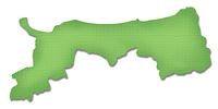 ペーパークラフト調の鳥取県の地図
