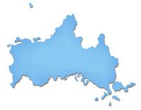 ペーパークラフト調の山口県の地図