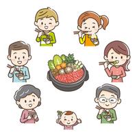 すき焼きを食べる家族
