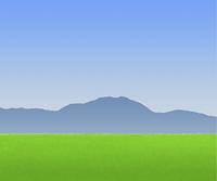 草原と空と山