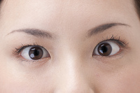驚いた女性の目