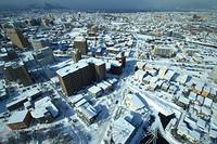 真冬の函館山と市内