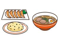 ラーメンと炒飯と餃子のセット