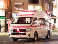 繁華街で待機する救急車