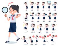 flat type school girl Sailor suit summer_Action