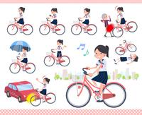 flat type school girl Sailor suit summer_city cycle