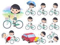 school girl White shirt summer_city cycle