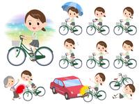 school girl pale green shirt summer_city cycle