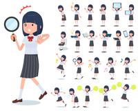 flat type school girl White shirt summer_Action