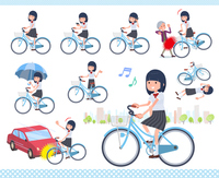 flat type school girl White shirt summer_city cycle