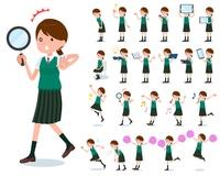 flat type school girl green vest summer_Action