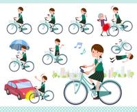 flat type school girl green vest summer_city cycle