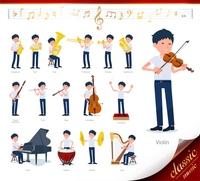 flat type school boy short sleeve summer_classic music
