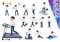 flat type school boy short sleeve summer_exercise