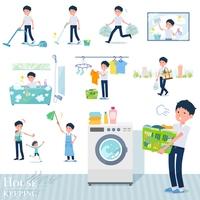 flat type school boy short sleeve summer_housekeeping