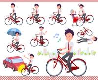flat type school boy short sleeve necktie summer_city cycle