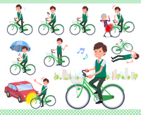 flat type school boy green vest summer_city cycle