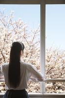 教室の窓から桜を眺める女子高生