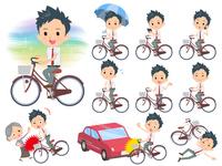 school boy White shirt necktie summer_city cycle