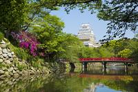 新緑の姫路城と赤い橋