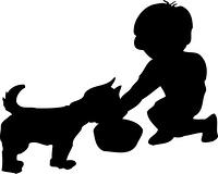 犬のえさやりのシルエット