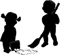 庭の掃除のシルエット