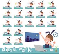 flat type bunny suit women_desk work