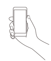 スマートフォンを持つ手のシンプル線画イラスト