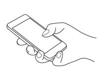 スマートフォンを持って指で操作する手元の線画イラスト