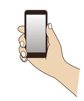 スマートフォンを持つ手元のイラスト