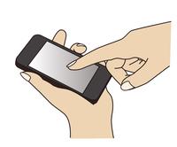 スマートフォンを持って指で操作する手元のイラスト