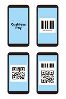スマートフォン バーコードとQRコード キャッシュレス決済イメージ