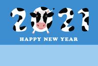 丑年 ホルスタイン柄の2021年と牛の年賀状イラスト