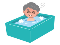 お風呂でのぼせる高齢女性
