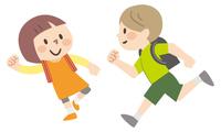 ランドセルを背負って走る子供たち