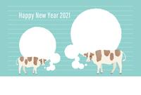 牛の思い 年賀状
