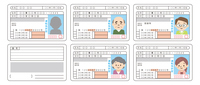 色々な世代の運転免許証のセット