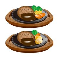 ハンバーグのイラスト。アイコンセット