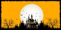 ハロウィン 城 満月 背景