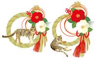 しめ縄と虎の年賀状素材