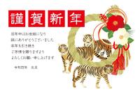 しめ縄と3頭の虎の年賀状
