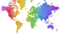 水彩レインボーカラーの世界地図