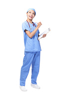 doctor holding clipboard and look up